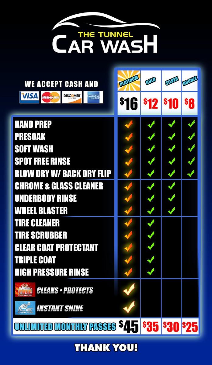 Tunnel Carwash menu